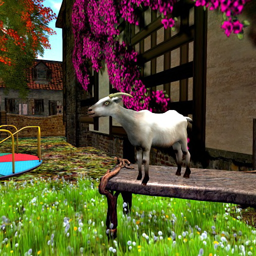 Miss Maggie Hawksby's goat, Trollbait, relaxes in the Voodoo House garden.